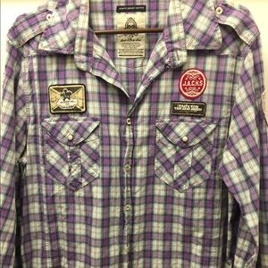 Just A Cheap Shirt XXL Purple Shirt Army Patches